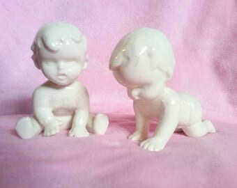 Two White Glossy Porcelain Babies Baby Shower Decoration Party Cake Topper