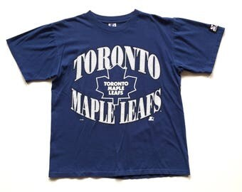 Vintage Toronto Maple Leafs STARTER Short Sleeve T Shirt All Over Print NHL Hockey Medium 100% Cotton 90s single stitch