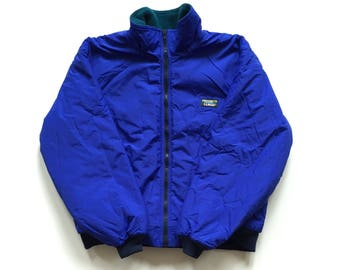 80s 90s LL BEAN Fleece lined jacket blue green full zip jacket nylon polyester size large made in USA