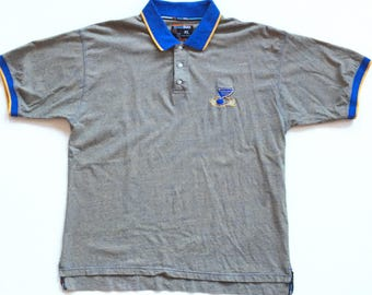 St. Louis blues nhl hockey short sleeve button up polo collared shirt 90s colour blocking rare vintage