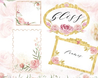 Powder pink and gold palette .Frames, seampless patterns and digital papers. Soft pink and gold  flowers. Wedding invitations.