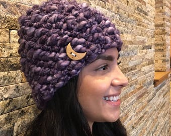Violet Purple Winter Beanie Hat with Crescent Moon button
