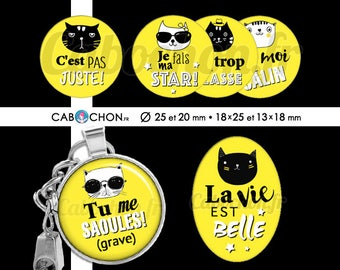 Humeur de Chat ll • 60 Images Digitales RONDES 25 et 20 mm OVALES 18x25 13x18 mm digital sheet chat cat dechire super cabochon badge bijoux