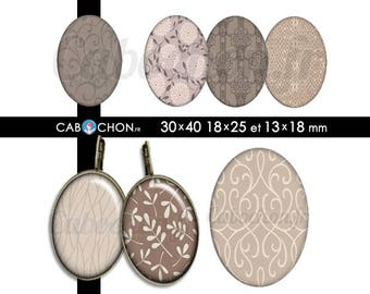Taupe • 45 Images Digitales OVALES 30x40 18x25 13x18 mm page sheet cabochon bijoux liberty london taupe prune digital marron brun