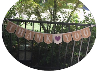 Thank You, burlap bunting in natural or ivory burlap with optional personalized embroidered heart, many custom options, Product ID# 2014-12