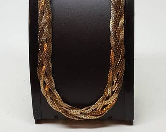 Gold snake chain,3 snake platted chain twisted together 19 inch long gift for her birthday gift vintage 70s chain