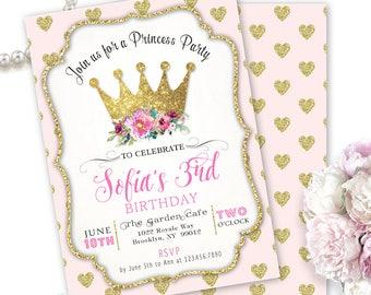 Princess Party Invitation, Princess Birthday Invitation Pink & Gold Hearts, Princess Birthday Party Invites 1st 2nd 3rd 4th birthday any age