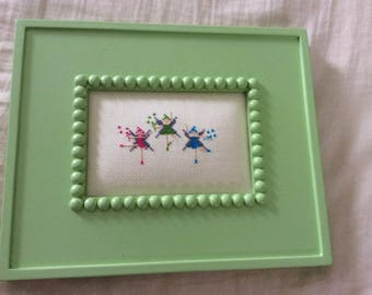 Three Fairies Finished Completed & Framed Cross Stitch