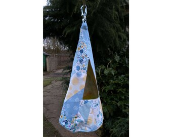 CLOTHES PEG BAG, Conical Laundry Pin Holder, Cornflower Patchwork, Cotton Canvas, Hook No Blow Away Carabeener Washing Wash Day Wedding Gift