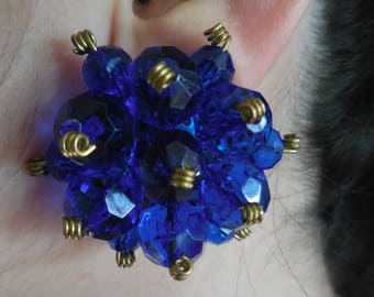 Beautiful big blue Vintage Clips Earrings Original 50s. French Vintage