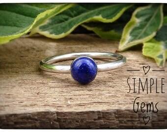 Lapis Lazuli Ring, Natural Stone, Lapis Ring, December Birthstone, Simple Setting, 925 Sterling Silver, Blue Stone Ring