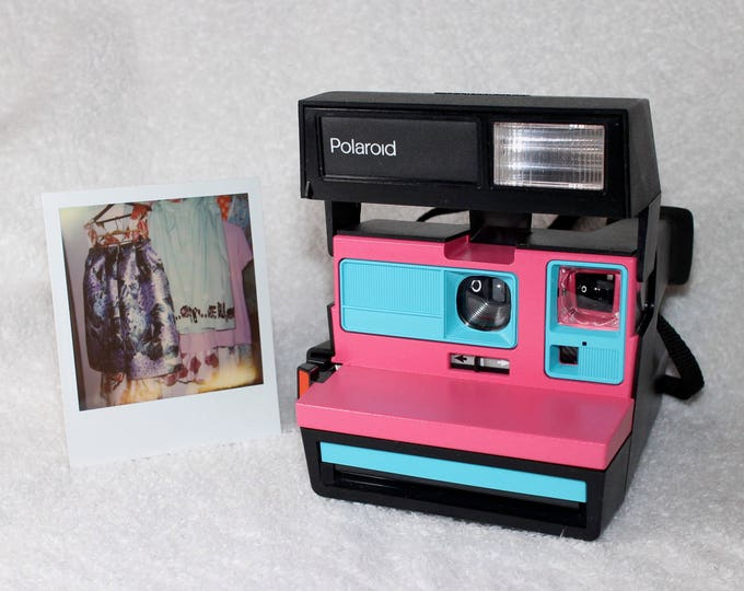 Upcycled Pink and Turquoise Polaroid Sun 600 - Cleaned and Tested