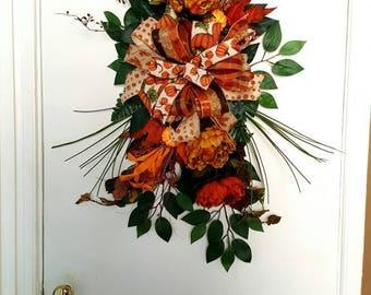 Fall Wreath, Fall Door Decor, Fall Door Swag, Fall Decor, Door Decor, Autumn Wreath, Autumn Decor, Autumn Door Swag, Fall Holiday Decor