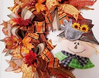 Fall Scarecrow Wreath, Fall Grapevine Wreath, Scarecrow wreath, Fall Decor, Autumn Wreath, Fall Funky Bow Wreath, Fall Wreath