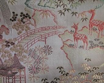 Vintage Pink Silk Deer Pagoda Kimono Fabric Unused 2 yard