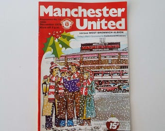 Vintage 1978 Manchester United Versus West Bromwich Albion Football Soccer Programme Christmas