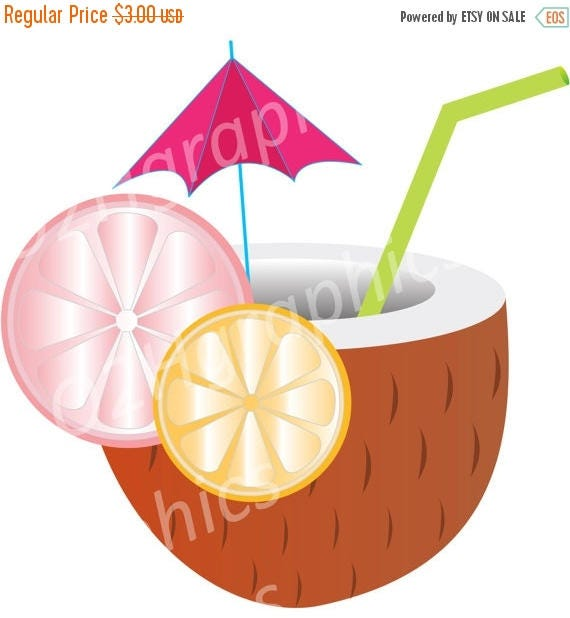 NOV 20 SALE Tropical Drink Clipart Beach Clip Art Vector Digital Scrapbooking Graphic Artwork PNG Jpeg