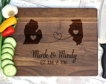 Engraved Cutting Board - States and Hearts - Wedding Anniversary Gift