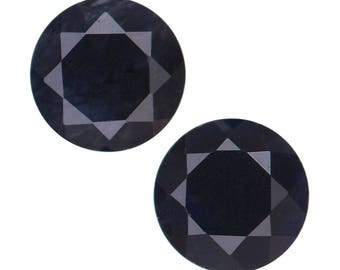 Black Sapphire Round Cut Loose Gemstones Set of 2 1A Quality 4mm 0.55 cts.