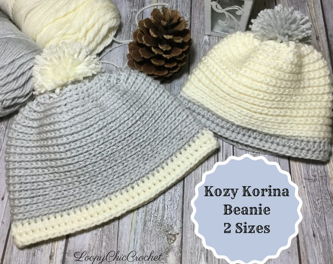 Kozy Korina Beanie Easy Crochet Pattern, Easy Crochet Hat Pattern, Crochet Knit Pattern