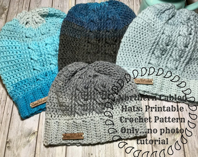 Northern Cabled Hat Pattern Only, Printable Crochet Cable Hat Pattern, Women's Crochet Hat Pattern