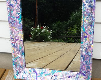 Vintage, decorative wall mirror, pastel, splatter-paint mirror in blues, pinks, purples and silver