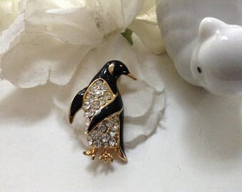 Penguin Brooch Pin Rhinestone Enamel 80s Black Costume Whimsical Dimensional 80s  Vintage Figural Animal Collectible Gift