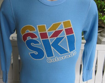Size S (40) ** 1970s Ski Colorado Thermal Shirt  (Single Sided)