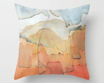 "Cushion cover with fine art print. Burnt orange and blue tones Throw pillow cover Accent pillow Abstract landscape ""Blue and Orange Merger"""