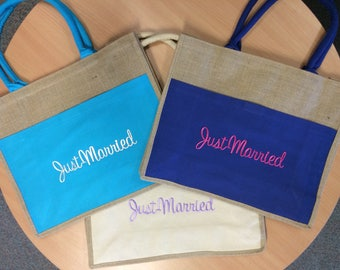 Just Married Beach Bag. Perfect for the honeymoon.