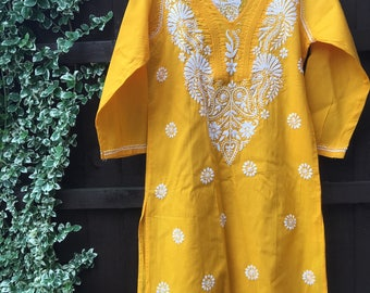 Hand embroidered • indian embroidery • gold kurta • Lucknovichikan • chikankari • hand embroidered kurta