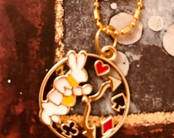 Alice in Wonderland White Rabbit Necklace