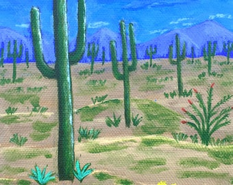 Arizona Cactus, Arizona Painting, Saguaro Painting, Desert Painting, ORIGINAL Painting, Acrylic, Gift Idea, MelidasArt,  5x7in, SALE