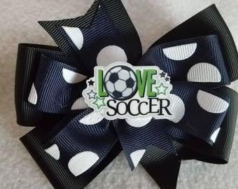 Love Soccer Hair bow