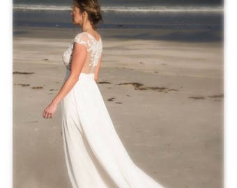 Beach Wedding Dress, Illusion Back Wedding Dress, Venice Lace Wedding Dress, Wedding Gown, Bridal Dress, Custom Dress, Lace Wedding Dress