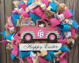 Ready to ship! Burlap Bunny Easter Pickup Truck Wreath