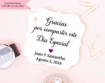 Gracias tags (30) - Spanish wedding tags - Mexican wedding favors - Wedding tags - Wedding gift tags - Wedding favor tags