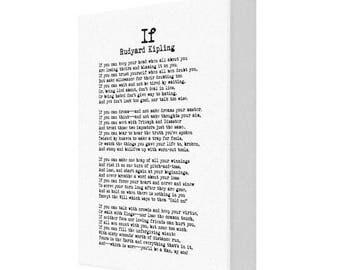 If by Rudyard Kipling Poetry, Literature, Modern Typewriter Canvas