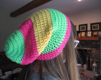 Crochet Green, Pink & Yellow Slouch Beanie Hat