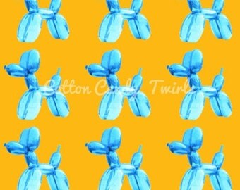Blue Balloon Pup Tank Pre-order - balloon - balloon animal - Balloons  - organic cotton - organic fabric - organic - cotton candy twirls