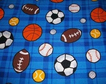 Sports Fabric, Blue Fabric, 100% Cotton, Scrap Fabrics, Boys Fabric, Sports Balls, Remnants, EOB piece, 18 x 44