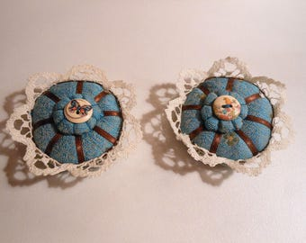 Pincushion - set of two stick pins turquoise