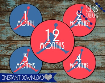 Air Jordan Printable Monthly Baby Stickers! INSTANT DOWNLOAD! 1-12 Months! 4inch Rounds