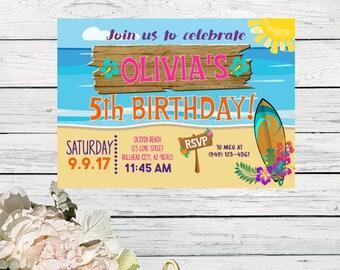 Beach Surfer Party Hawaiian Themed Personalized birthday invitation- ***Digital File*** (Beach-01Grl)