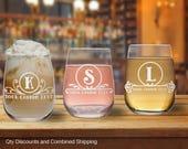 Circle Monogram 17oz Stemless Wine Glass (12+Styles)