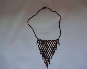 Metallic Bronze Net Seed Bead Necklace