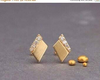 Solid 14K Gold & Diamonds Earrings   Handmade Solid Gold Earrings   Wedding Earrings