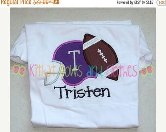 ON SALE Football and Helmet Applique Shirt - Football - Sports - Fall - You Choose Team Colors