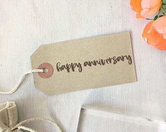 Happy Anniversary Stamp | Modern Calligraphy - Wedding Anniversary - First Anniversary - Paper Anniversary - Gift for Crafter