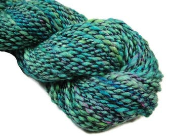Hand dyed and hand spun two ply bulky yarn 130 yards for knitting and crocheting